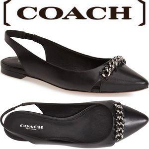Coach Rodney Slingback Black Flat Chain Shoes 7.5